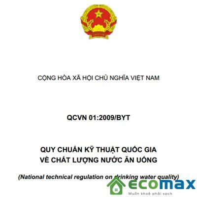 qcvn 01:2009/byt quy chuẩn kỹ thuật quốc gia về chất lượng nước ăn uống