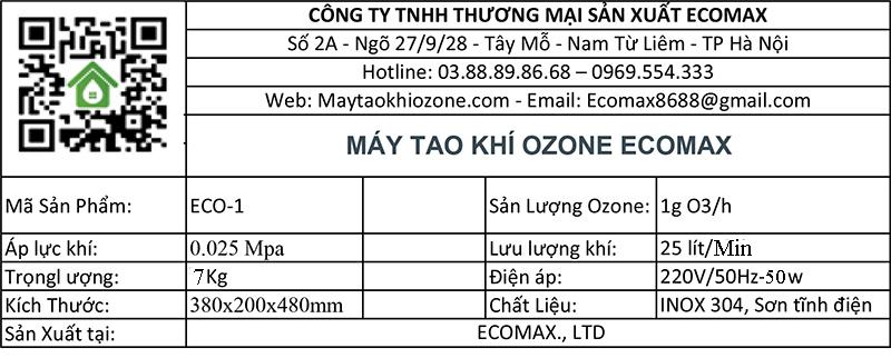 thông số kỹ thuật máy tạo khí ozone 1g/h