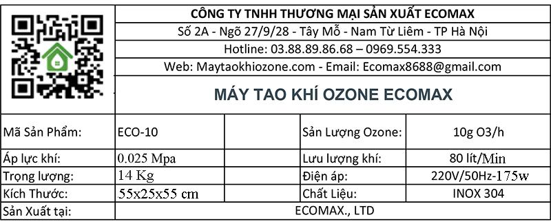 thông số kỹ thuật máy ozone 10g