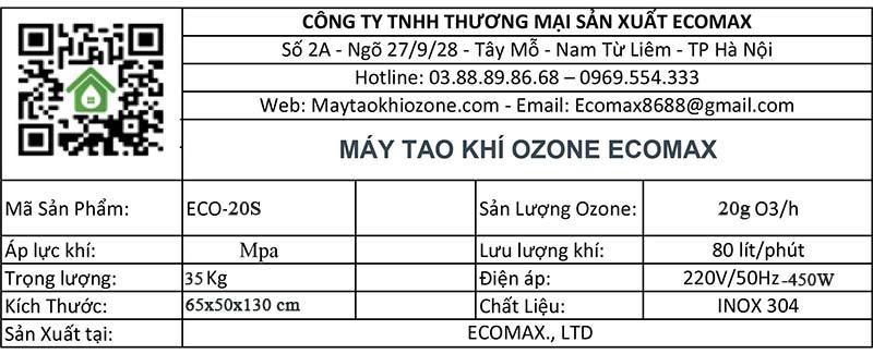 thông số kỹ thuật máy tạo khí ozone 20g/h