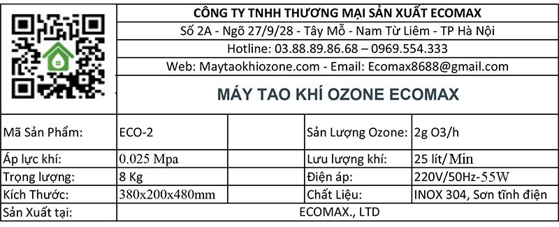 thông số kỹ thuật máy ozone 2g/h