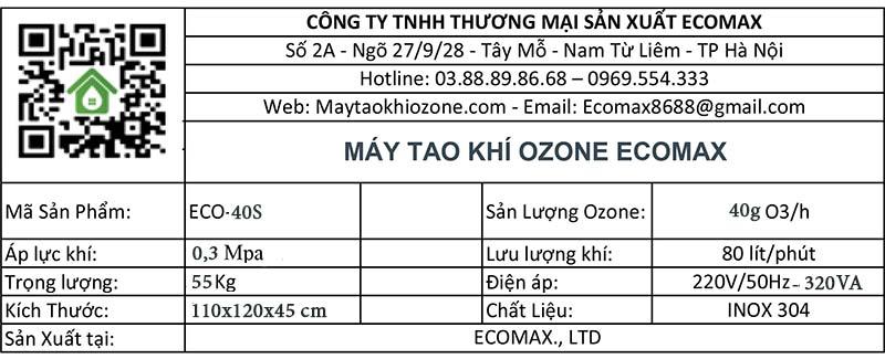 thông số kỹ thuật máy ozone 40g