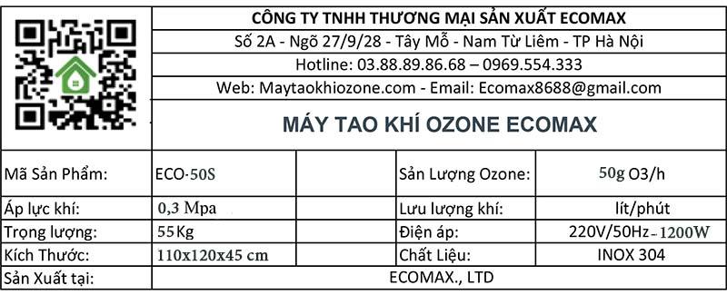 thông số kỹ thuật máy ozone 50g/h