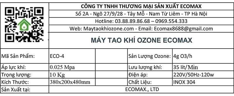 thông số kỹ thuật máy ozone 4g