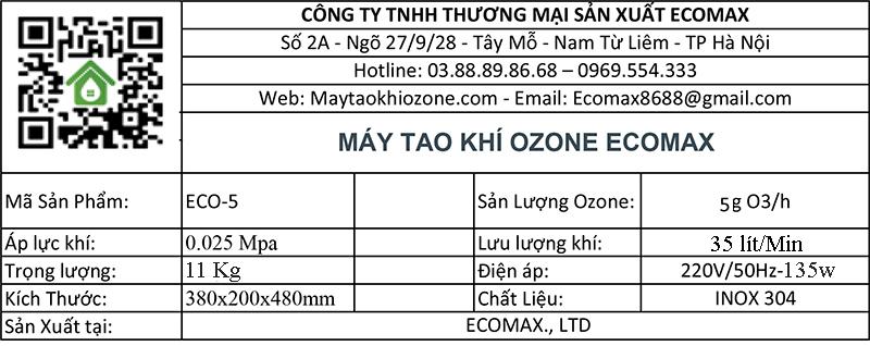 thông số kỹ thuật máy ozone 5g